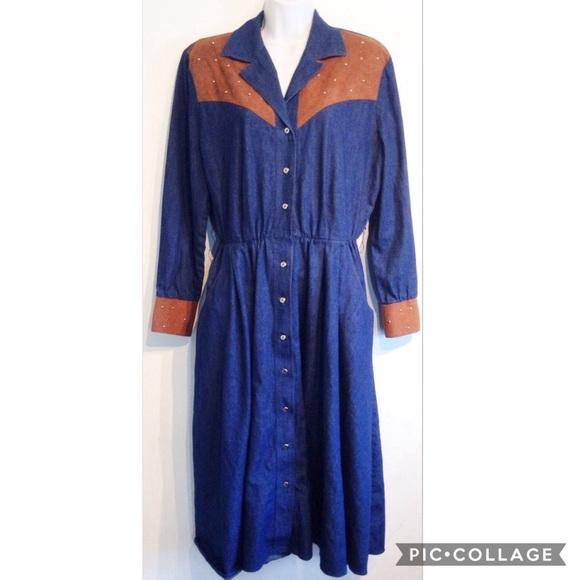 VTG Plus Size Western Cowgirl Style Denim Dress